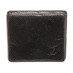 Louis Vuitton Black Taiga Leather Square Coin Case